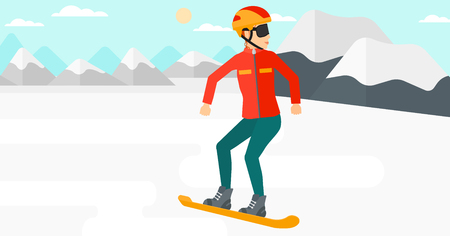 snow capped mountain: A woman snowboarding on the background of snow capped mountain vector flat design illustration. Horizontal layout. Illustration