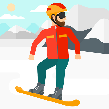 snow capped: A hipster man with the beard snowboarding on the background of snow capped mountain vector flat design illustration. Square layout. Illustration
