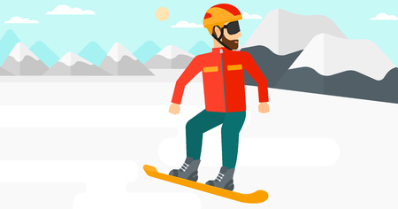 snow capped: A hipster man with the beard snowboarding on the background of snow capped mountain vector flat design illustration. Horizontal layout. Illustration