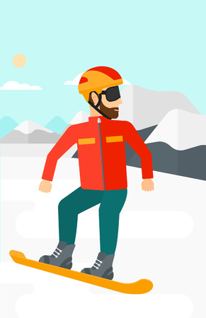 snow capped: A hipster man with the beard snowboarding on the background of snow capped mountain vector flat design illustration. Vertical layout. Illustration
