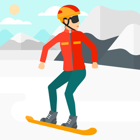 snow capped mountain: A woman snowboarding on the background of snow capped mountain vector flat design illustration. Square layout.