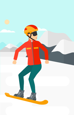 snow capped: A woman snowboarding on the background of snow capped mountain vector flat design illustration. Vertical layout.