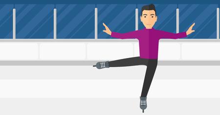 figure skater: Professional figure skater performing on ice skating rink vector flat design illustration. Horizontal layout. Illustration