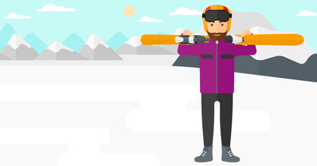 snow capped mountain: A hipster man with the beard carrying skis on his shoulders on the background of snow capped mountain vector flat design illustration. Horizontal layout. Illustration