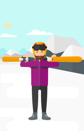 snow capped: A hipster man with the beard carrying skis on his shoulders on the background of snow capped mountain vector flat design illustration. Vertical layout. Illustration