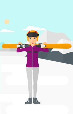 snow capped: A woman carrying skis on her shoulders on the background of snow capped mountain vector flat design illustration. Vertical layout. Illustration