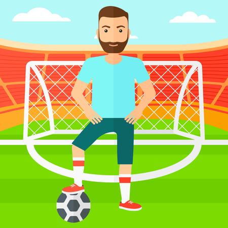 Een hipster man met voetbal bal op het veld van het stadion vector platte ontwerp illustratie vector platte ontwerp illustratie. Vierkante lay-out.