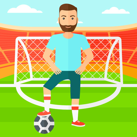 A hipster man with football ball on the field of stadium  vector flat design illustration vector flat design illustration. Square layout. Illustration