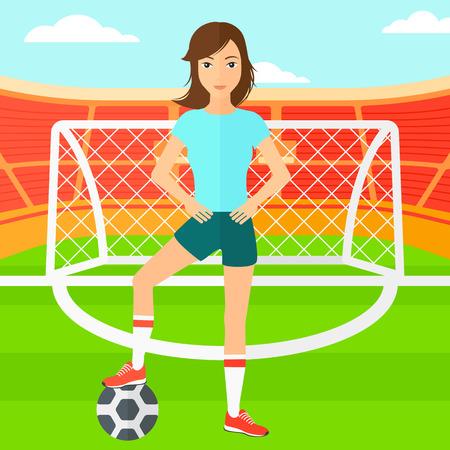 cartoon ball: A woman with football ball on the field of stadium vector flat design illustration vector flat design illustration. Square layout.