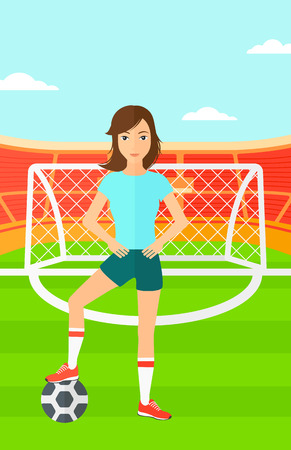 A woman with football ball on the field of stadium vector flat design illustration vector flat design illustration. Vertical layout. Ilustracja