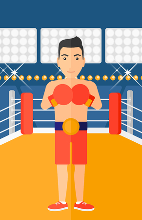 A man in gloves in the ring vector flat design illustration vector flat design illustration. Vertical layout. 矢量图像