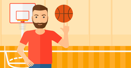 A hipster man with the beard spinning basketball ball on his finger on the background of basketball court vector flat design illustration. Horizontal layout.