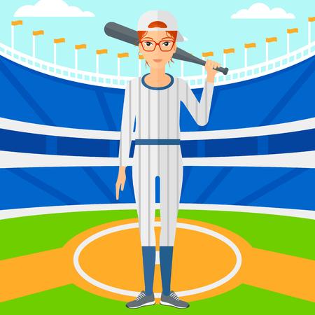 baseball cartoon: A woman with a bat on the baseball stadium vector flat design illustration. Square layout. Illustration