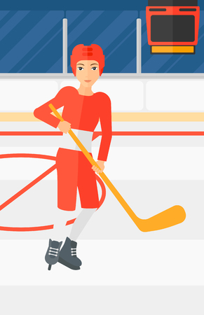 A woman skating with a stick on ice rink vector flat design illustration. Vertical layout.