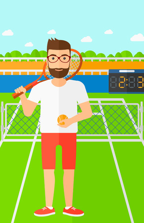A hipster man with the beard holding a tennis racket and a ball on the background of tennis court vector flat design illustration. Vertical layout.