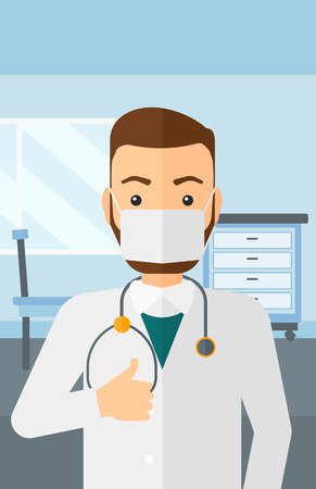 protective gown: A doctor in mask showing thumb up on the background of medical office vector flat design illustration. Vertical layout. Illustration