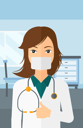 surgeon mask: A doctor in mask showing thumb up on the background of medical office vector flat design illustration. Vertical layout. Illustration