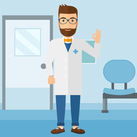 hospital corridor: A friendly doctor in medical gown showing ok sign on the background of hospital corridor vector flat design illustration. Square layout. Illustration