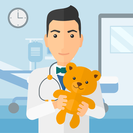 pediatrist: A pediatrician holding a teddy bear on the background of hospital ward vector flat design illustration. Square layout.
