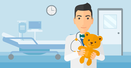 hospital gown: A pediatrician holding a teddy bear on the background of hospital ward vector flat design illustration. Horizontal layout. Illustration
