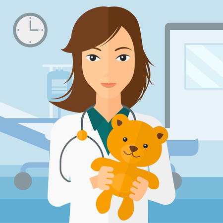 pediatrician: A pediatrician holding a teddy bear on the background of hospital ward vector flat design illustration. Square layout.