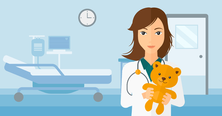 paediatrician: A pediatrician holding a teddy bear on the background of hospital ward vector flat design illustration. Horizontal layout. Illustration
