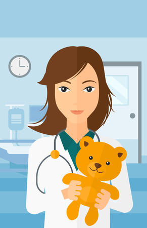 pediatrist: A pediatrician holding a teddy bear on the background of hospital ward vector flat design illustration. Vertical layout.
