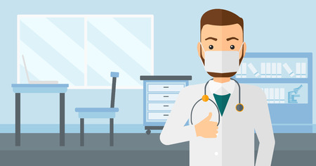 protective gown: A doctor in mask showing thumb up on the background of medical office vector flat design illustration. Horizontal layout.