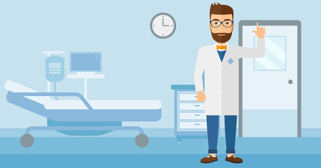 hospital gown: A happy doctor in medical gown showing finger up on the background of hospital ward vector flat design illustration. Horizontal layout.