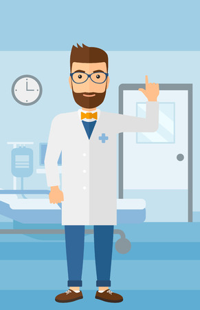 intern: A happy doctor in medical gown showing finger up on the background of hospital ward vector flat design illustration. Vertical layout.