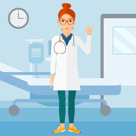 hospital gown: A happy doctor in medical gown showing finger up on the background of hospital ward vector flat design illustration. Square layout. Illustration