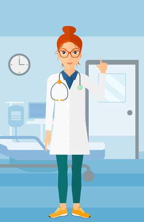 hospital gown: A happy doctor in medical gown showing finger up on the background of hospital ward vector flat design illustration. Vertical layout.