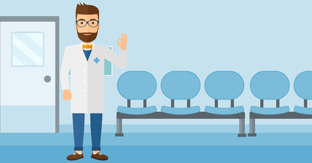 hospital corridor: A friendly doctor in medical gown showing ok sign on the background of hospital corridor vector flat design illustration. Horizontal layout.