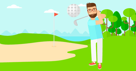 A hipster man with the beard hitting the ball on golf field vector flat design illustration. Horizontal layout.