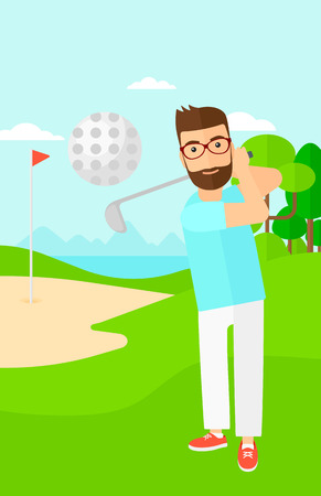 pelota caricatura: Un hombre inconformista de la barba que golpea la bola en el campo de golf ilustraci�n vectorial dise�o plano. disposici�n vertical.