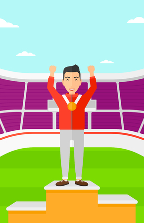 A man with medal and hands raised standing on a pedestal on a background of the stadium vector flat design illustration. Vertical layout. Reklamní fotografie - 52374852