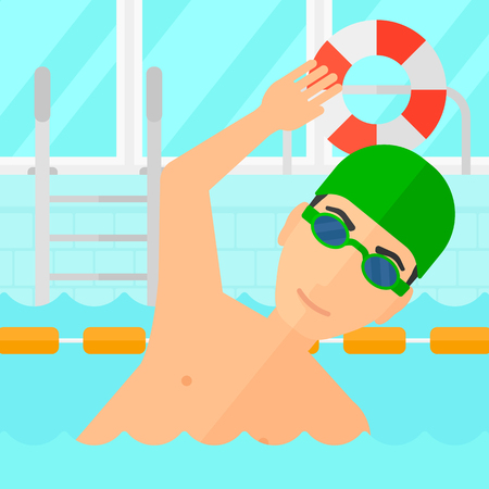 race winner: A man wearing cap and glasses training in swimming pool vector flat design illustration. Square layout.
