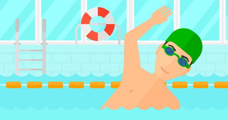 swimming cap: A man wearing cap and glasses training in swimming pool vector flat design illustration. Horizontal layout.
