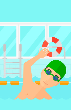 swimming cap: A man wearing cap and glasses training in swimming pool vector flat design illustration. Vertical layout. Illustration