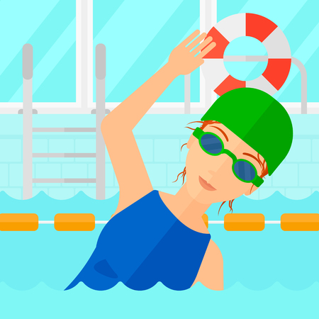 swimming cap: A woman wearing cap and glasses training in swimming pool vector flat design illustration. Square layout.