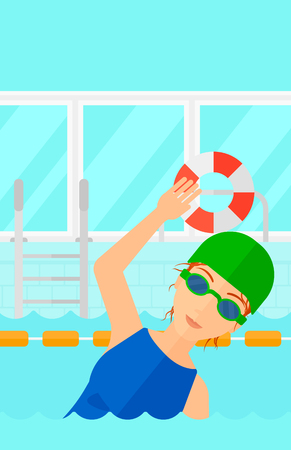 swimming cap: A woman wearing cap and glasses training in swimming pool vector flat design illustration. Vertical layout. Illustration