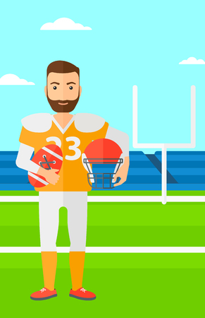 cartoon ball: A hipster man with ball and helmet on rugby stadium vector flat design illustration. Vertical layout. Illustration