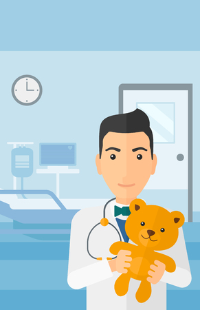 paediatrician: A pediatrician holding a teddy bear on the background of hospital ward vector flat design illustration. Vertical layout.