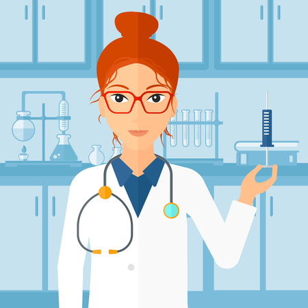 prick: A doctor holding the syringe with medication on the background of laboratory vector flat design illustration. Square layout. Illustration