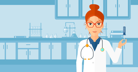 A doctor holding the syringe with medication on the background of laboratory vector flat design illustration. Horizontal layout.