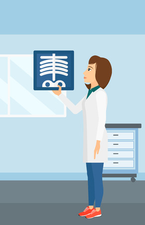 doctor examine: A doctor examining a radiograph on the background of medical office vector flat design illustration. Vertical layout. Illustration