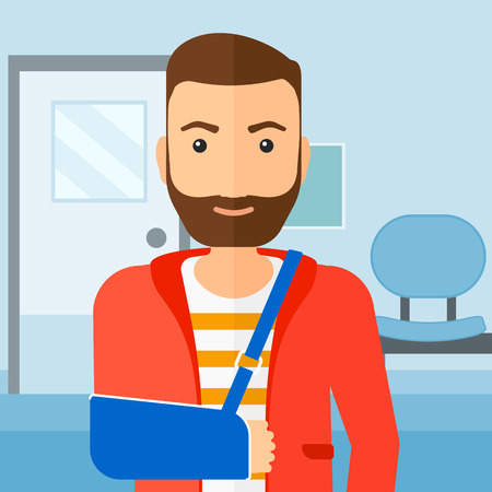 gyps: A hipster man with broken arm in bandages standing on the background of hospital corridor vector flat design illustration. Square layout.