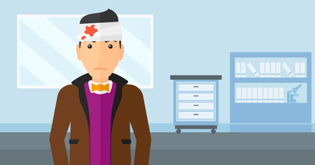 emergency care: A man with bandages over his head on a hospital background vector flat design illustration. Horizontal layout. Illustration