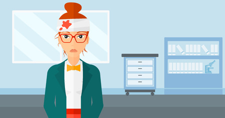 A woman with bandages over her head on a hospital background vector flat design illustration. Horizontal layout.