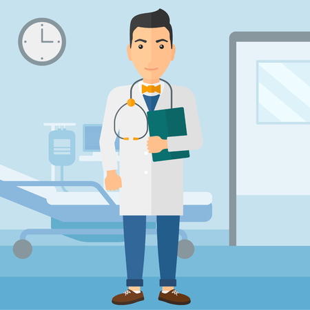 A happy doctor with stethoscope and a file  on the background of hospital ward vector flat design illustration. Square layout. 일러스트